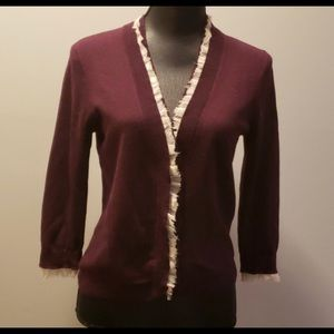 J. Crew merlot cardigan, size medium.
